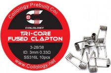 Coilology Tri-Core Fused Clapton predmotané špirálky SS316 0,33ohm 10ks